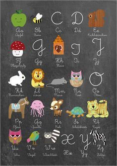 Poster fürs Kinderzimmer Abc lernen mit Tieren auf Tafelhintergrund