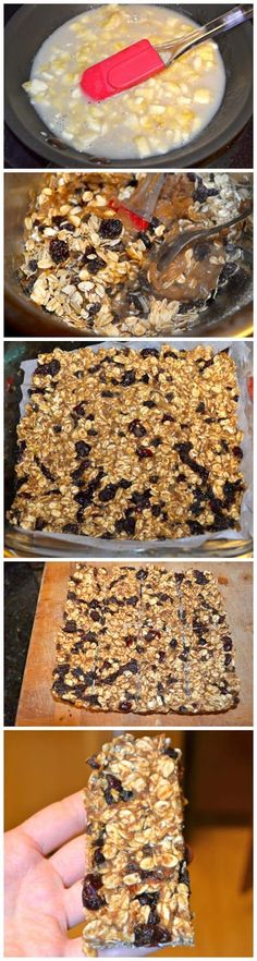 Clean Eating Granola Bar -  1 cup of whole grain old fashioned oats 1 Tablespoon of ground flax meal 1/4 cup of dried currants 1/4 cup of dried cranberries 1/4 cup of dried cherrieschopped (or any type of dried fruit without the sugars) 1 packet of stevia in the raw 1/2 cup of unsweetened vanilla almond milk 1 fairly ripe banana, chopped as small as you can 2 Tablespoons of natural peanut butter 2 Tablespoons of natural honey 1 teaspoon of vanilla extract 1 tsp cinnamon -