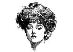 Gibson Girl 1. Vintage Gravur Porträt von C.D.Gibson / / von flonz