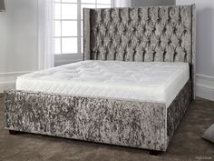 Buy stunning fabric bed frames at FADS. Gabriella Silver Crushed Velvet Bed Frame with diamante headboard will add a touch of glamour to your home Silver Crushed Velvet Bed, Silver Velvet Sofa, Crushed Velvet Headboard, Grey Velvet Bed, Velvet Bed Frame, Crushed Velvet Sofa, Velvet Bedroom, High Headboard Beds, Headboards