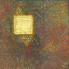 "Lois Martin takes you on a virtual tour of a recent show of mixed media work by SDA Members.  Larry Schulte ""Gold Square"" 2012 9 ¾""x 9 ¾"" Screenprint, stitching and gold leaf. Photo by the artist."