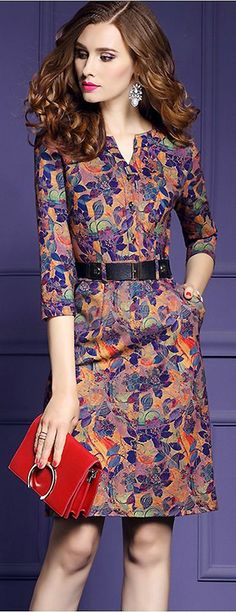 Vintage V-Neck Floral Print Belted Bodycon Dress