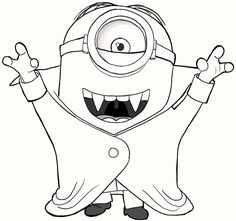 8 Cute Vampire Minions Coloring Pages