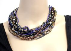 Vintage VEL Signed Couture Seed Bead Layered Choker Necklace
