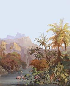 mural by zuber - Décor Panoramique, les Zones Terrestres, création de 1855