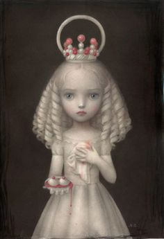 "Saint Agatha by Nicoletta Ceccoli.  "" I meant her to be a portrait of the martyr St. Agatha .After rejecting a man advances Agatha's breasts were crushed and cut off ..poor Agatha;_;"""