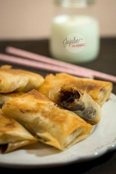 Feuilles de brick fourrées à la banane et au chocolat http://www.jujube-en-cuisine.fr/?p=11367
