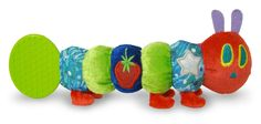 Caterpillar Teether Rattle- This rattle teether is based upon the unforgettable character in Eric Carle's classic The Very Hungry Caterpillar. It is a sure way to bring the tale to life and a smile to your child's face. There are multiple textures to touch, crinkle and jingle sounds, and a teether to chew.