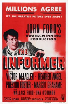 The Informer poster, t-shirt, mouse pad Heather Angel, John Ford, Great Pictures, Betrayal, Good Movies, I Movie, The Fosters, Politics, Oscars
