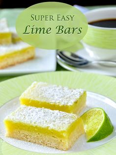 Super Easy Lime Bars - Using only 5 simple ingredients and a very quick preparation time, these refreshing lime bars are based on easiest and best lemon bar recipe Ive ever tried in almost 40 years of baking. Rock Recipes, Lime Bar Recipes, Sweet Recipes, Lime Squares Recipes, Lime Dessert Recipes Easy, Lime Recipes Healthy, Salad Recipes, Dessert Simple, Lemon Bars