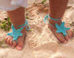 Proposición de Aqua estrellas de mar ganchillo bebé descalzo sandalias, accesorios de pie de bebé, Foto, playa piscina tobillera, encaje, turquesa sandalias pies descalzos