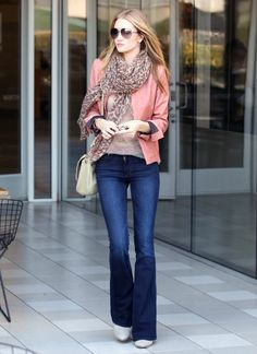 Bootcut jean with rose leather jacket