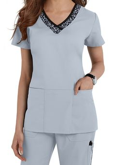 Greys Anatomy v-neck leopard trim scrub top. Main Image
