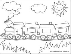 Train cars coloring sheet for young children