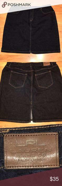 LRL denim skirt size 20W great condition Lauren by Ralph Lauren denim skirt. Button and zip closures. Pockets in front and back. Pleat in the back. Great condition! Lauren Ralph Lauren Skirts