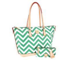 NEW Dooney & Bourke Mint Coated Cotton Chevron Tote w/ Accessories  #DooneyBourke #TotesShoppers www.TheConsignmentBag.com We ship Worldwide!