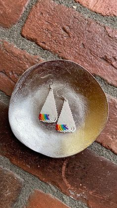 Chubbeadrings Shiny Triangle Pride Symbol Dangle Beaded Earrings By Chubbeadrings by chubbybeadedearrings on Etsy