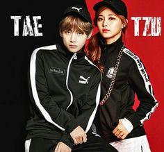 Adidas Jacket, Bomber Jacket, Bts Twice, Kpop Couples, Tzuyu Twice, Fanart, Just For Fun, Bts Bangtan Boy, Taehyung