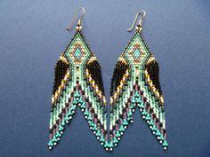 Seed bead eagle point earrings