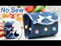 DIY Denim Wallet for Girls Tutorial from scratch. This easy diy is about making the cut girly coins purse or wallet by own hands just from the piece of fabri...