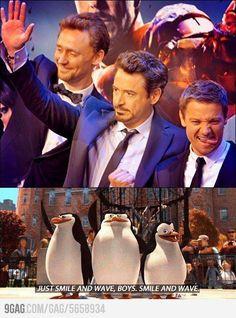 Just smile and wave boys.Smile and wave Avengers / Tom Hiddleston / Robert Downey Jr / Jeremy Renner Avengers Humor, Funny Marvel Memes, Marvel Jokes, Avengers Characters, Memes Humor, Dc Memes, Funny Memes, Hilarious, Funny Shit