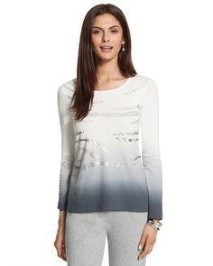 #chicossweeps.  The scoopneck cotton top shimmers with silvery foil and sequin stripes on ombre hues.