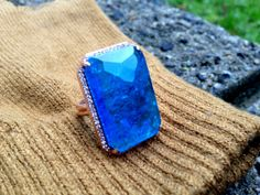 Blue Smithsonite Ring. 925 Silver rose gold by JewelryFromChakarr, $198.00