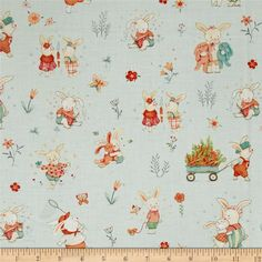 Bunny Tales Bunny Scene Blue from @fabricdotcom  Designed by Lucie Crovatto for Studio E Fabrics, this hoppy print collection is perfect for spring and Easter. This cotton print is perfect for quilting, apparel and home decor accents. Colors include grey, pink, peach, orange, mint, green, turquoise, ivory and white.