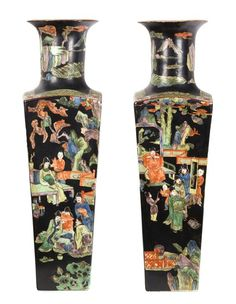 A Pair of Chinese Famille Noir Porcelain Vases Height 29 inches.