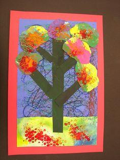 1st grade mixed media fall trees by Paintbrush Rocket, via Flickr