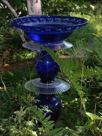 Re-use old glass dishes to make a bird bath