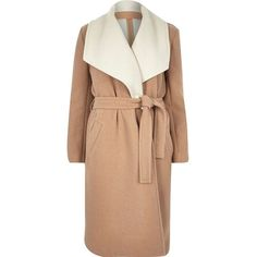 River Island Camel wool-blend belted robe coat ($170) ❤ liked on Polyvore