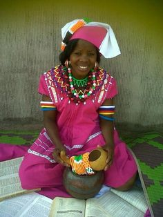 """""""I am an African, I am the grandchild of the warrior men and women that Hintsa and Sekhukhune led, the patriots that Cetswayo and Mphephu to. Pedi Traditional Attire, Sepedi Traditional Dresses, Traditional Wedding, Tribal Fashion, African Fashion, Womens Fashion, African Tribes, African Women, Warrior Outfit"""
