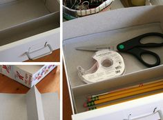 Organize a Desk Drawer with a Cereal Box