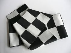 Casual obi sash - Japanese vintage - unisex - black and silver checked - WhatsForPudding