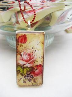 Roses Domino pendant on a 23 inch red ballchain | MalindaJ - Jewelry on ArtFire