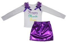 Petitebella Happy Mardi Gras White L/s Cotton Shirt Purple Bling Skirt Set 1-8y (6-8 Years). product includes: a shirt, a skirt. cotton shirt. lightweight skirt. adjustable waistband. outfit in happy mardi gras design.