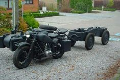 BMW R-75 with two ammunitions carts in tow.