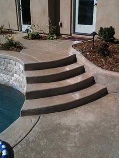 Stained And Sealed Stamped Concrete Step