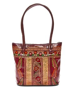 This Burgundy Flower Hand-Painted Leather Tote by Shina is perfect! #zulilyfinds