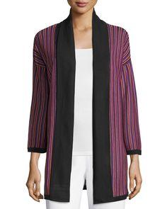 Misook Striped Bracelet-Sleeve Long Jacket, Mulberry/Multi, Women's, Size: S, Mul