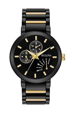 ac4cb23c5b7 Meticulous craftsmanship and an innovative design combine to make this  men s two-tone watch from Bulova a modern masterpiece.