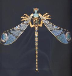 "Dragonfly woman corsage ornament. Rene Lalique (1860-1945). Gold, enamel, chrysoprase, moonstones, and diamonds, 23 x 26.5cm (9 x 10 3/8"")1897 - 1898."