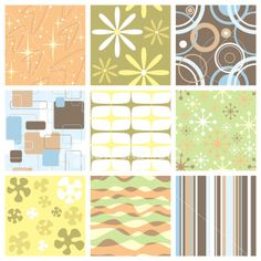 Set of nine funky retro seamless patterns Royalty Free Stock Vector Art Illustration