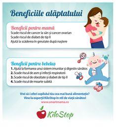Probabil că multe mămici s-au întrebat de ce ar trebui să își alăpteze bebelușul, în loc să îi dea lapte formula. Iată, așadar, ce beneficii are alăptatul atât pentru bebeluș, cât și pentru mamă! #alaptare #bebelusi #mame Formulas, Breastfeeding, Mame, Cancer, Healing, Parenting, Breast Feeding, Therapy, Recovery