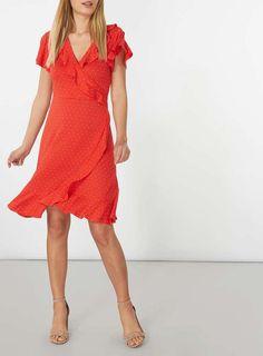 Red Pin Spot Ruffle Wrap Dress 2