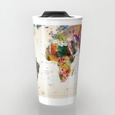 map Travel Mug by Mark Ashkenazi Coffee To Go, Coffee Cups, Cute Cups, Mug Cup, Drinkware, Ceramics, Tableware, Gifts, Typography