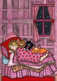 girl sleeps with cats | We Heart It