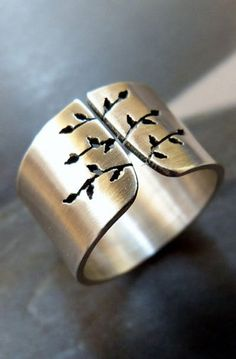 Spring tree Sterling silver ring, wide band metalwork jewelry