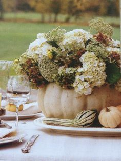White Pumpkin Centerpiece...Autumn Cottage Magazine 2012.